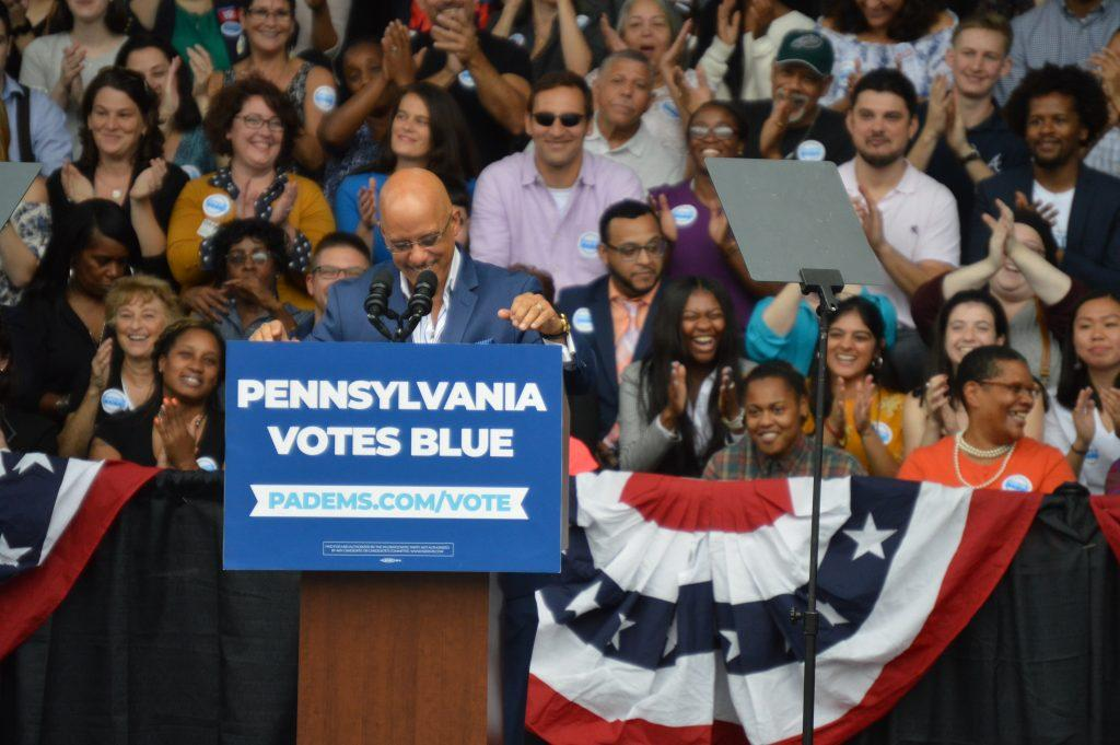 Vincent Hughes, Pennsylvania State Senator, took the stage and energizes the crowd of the Phila. Democrat Rally. Staff Photographer Hannah Woodruff