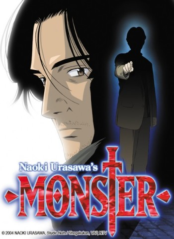 Promotional image for the anime series featuring Kenzo Tenma and partially-shadowed Johan Liebert