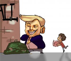 Illustrator, Trump funds wall instead of education· Paladin Jenkins