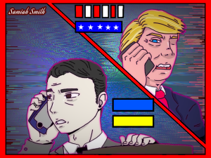 An impeachment inquiry has been launched against President of the United States Donald Trump. Congress is investigating the July 25th phone call between Trump and President of Ukraine, Volodymyr Zelensky. · Samiah Smith / ILLUSTRATION