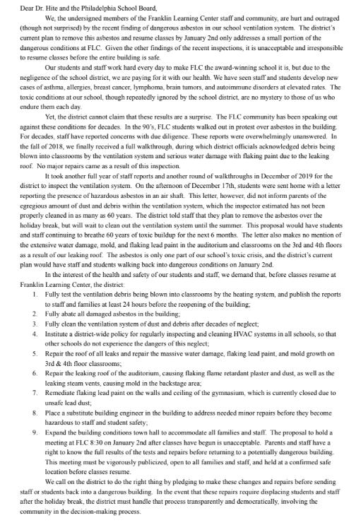 FLC staff deliver letter to 440