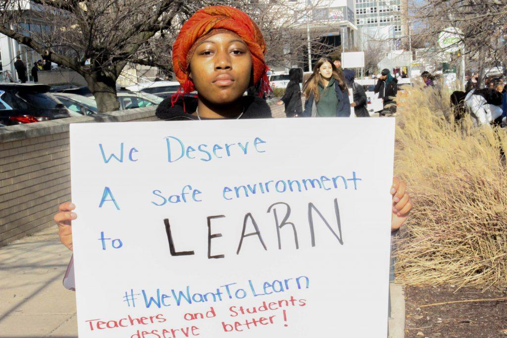 FLC students walk out in protest of building conditions.