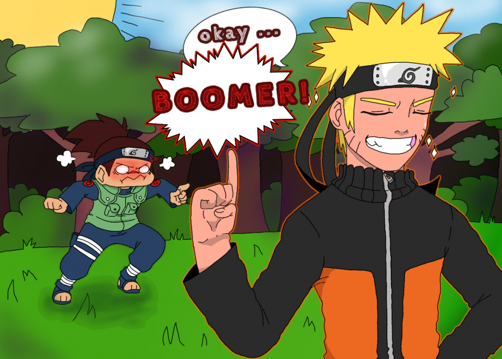 Naruto incorrectly refers to Shikamaru as a boomer to trigger him.