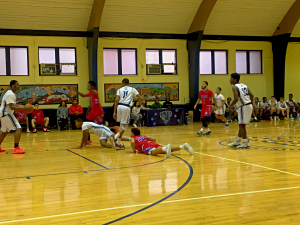 Players from both teams spent some time on the ground during the fourth quarter.